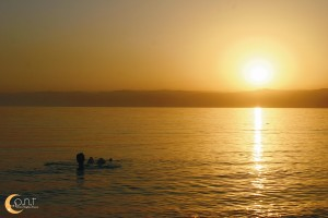 Dead Sea Beach Floating with Sunset