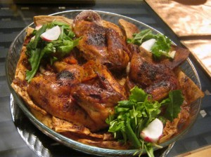 Roasted chicken baked with onions and spiced with sumac